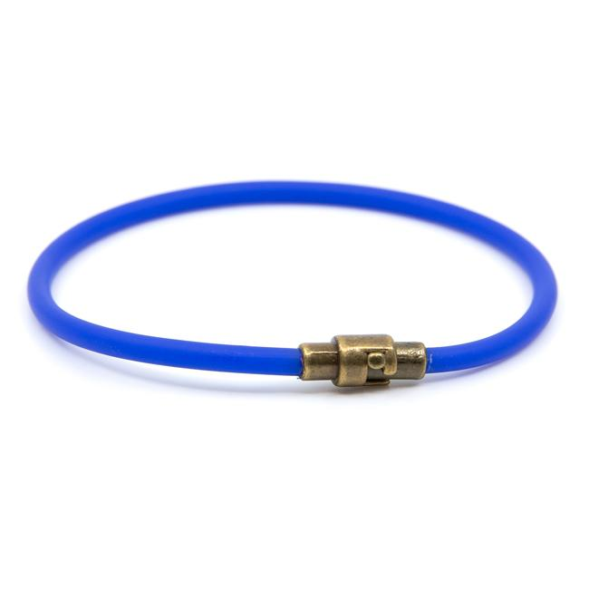 BasicMIA's Handmade Blue Single Wrap Rubber Bracelet