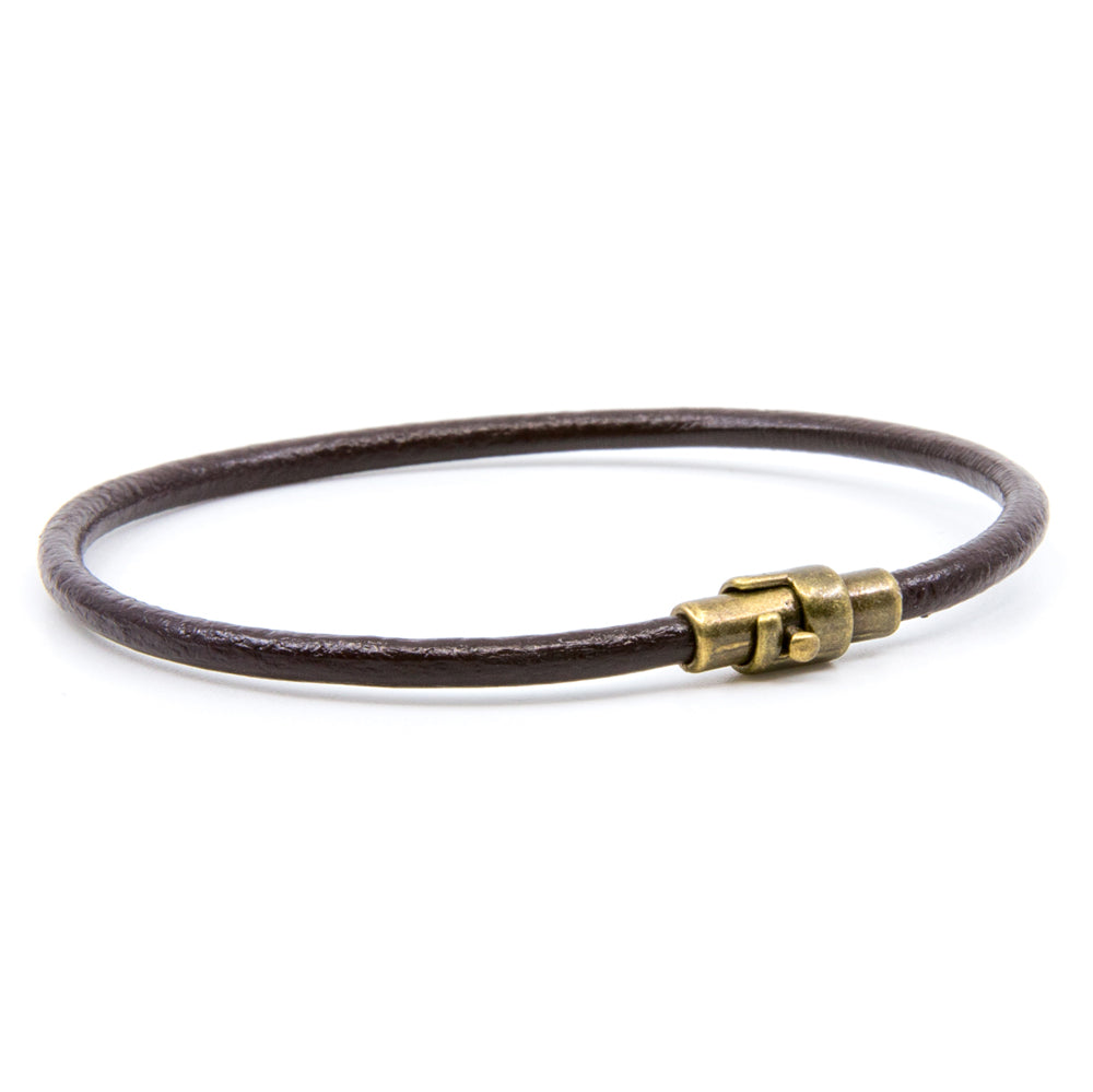BasicMIA's Handmade Brown Single Wrap Genuine Leather Bracelet