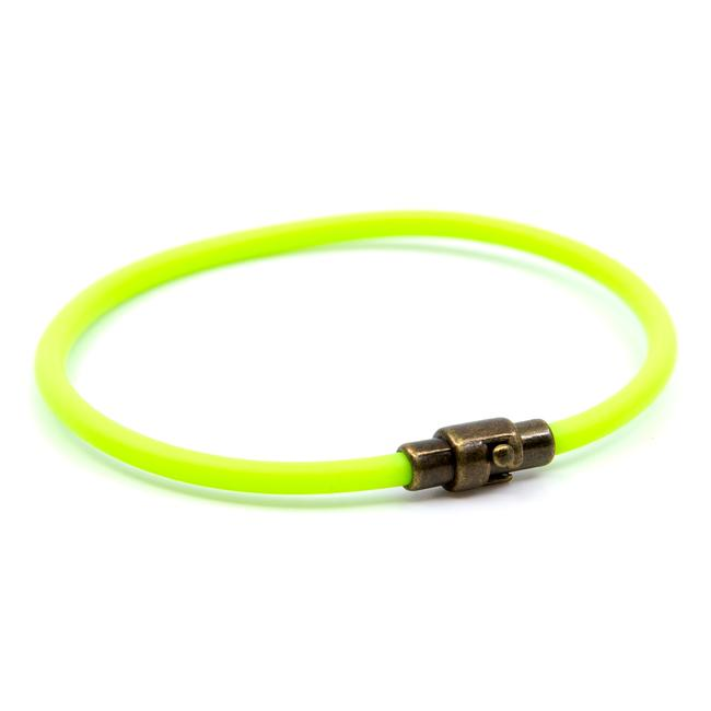 BasicMIA's Handmade Lime Green Single Wrap Rubber Bracelet