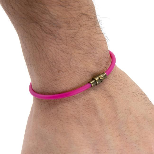 BasicMIA's Handmade Pink Single Wrap Rubber Bracelet