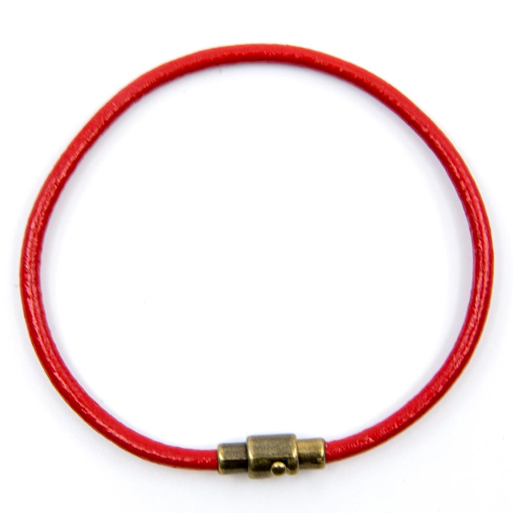 BasicMIA's Handmade Red Single Wrap Genuine Leather Bracelet