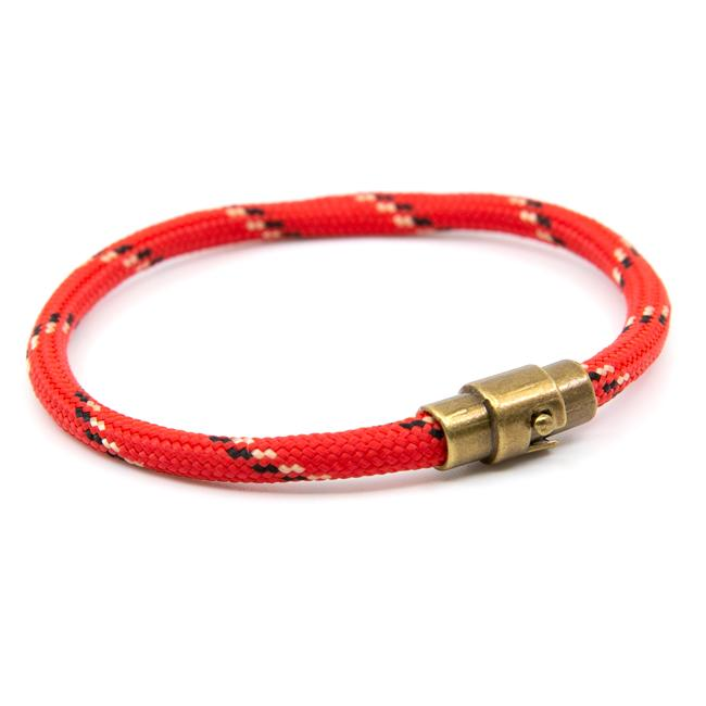 BasicMIA Handmade Red Striped Single Wrap Paracord Rope Bracelet