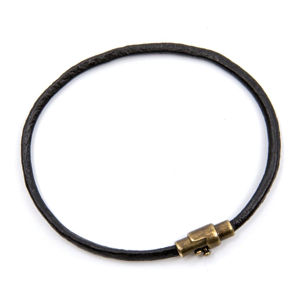 BasicMIA's Handmade Black Single Wrap Genuine Leather Bracelet