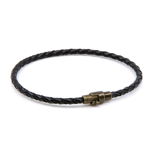 BasicMIA's Handmade Black Braided Single Wrap Leather Bracelet