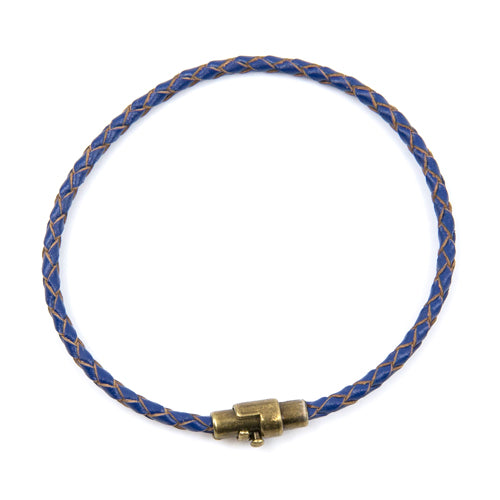 BasicMIA's Handmade Blue Braided Single Wrap Leather Bracelet