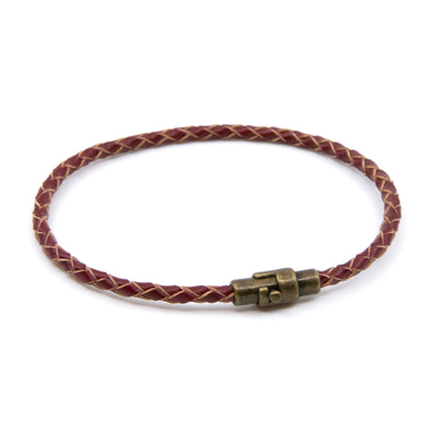 Handmade Red Braided Single Wrap Leather Bracelet