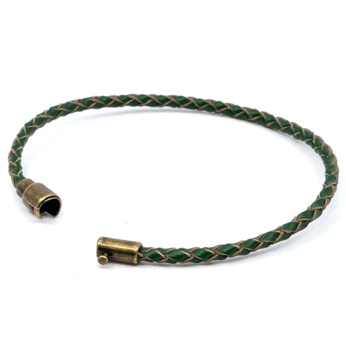 BasicMIA's Handmade Green Braided Single Wrap Leather Bracelet