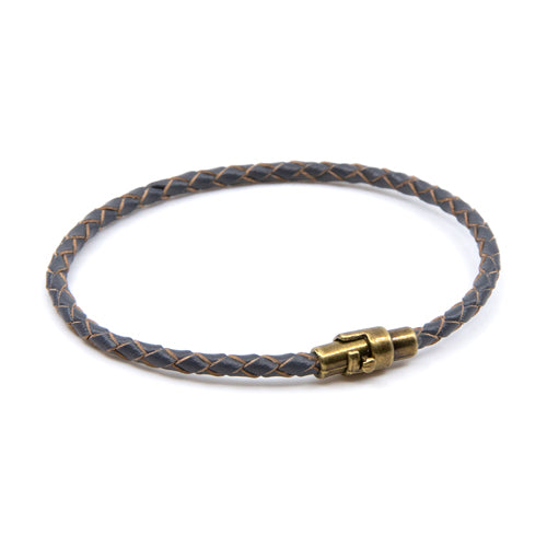 BasicMIA's Handmade Grey Braided Single Wrap Leather Bracelet