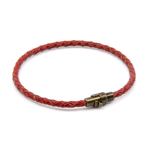 BasicMIA's Handmade Red Braided Single Wrap Leather Bracelet
