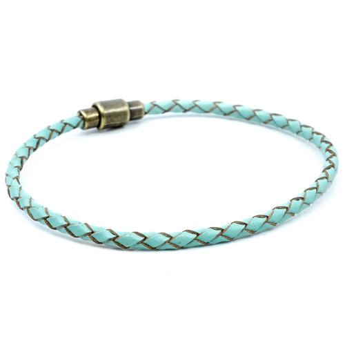BasicMIA's Handmade Turquoise Braided Single Wrap Leather Bracelet