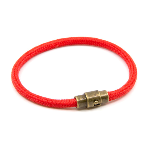 Handmade Red Striped Single Wrap Paracord Rope Bracelet