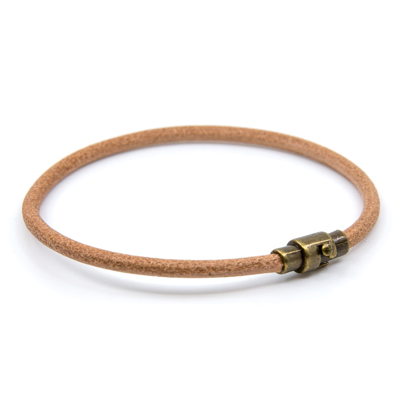 Handmade Tan Single Wrap Genuine Leather Bracelet