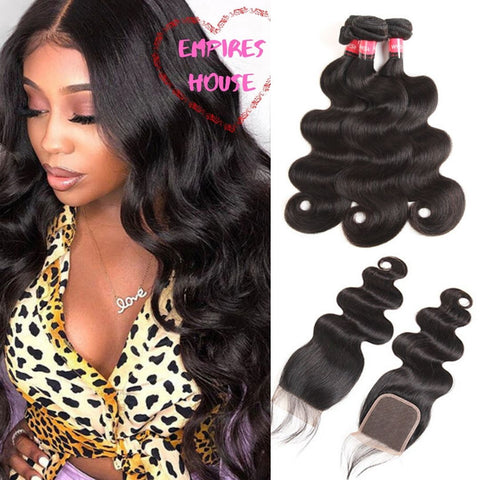 Brazilian Body Wave Bundles with Frontal 9A Grade 100% Human Virgin Hair - Empires Wig House