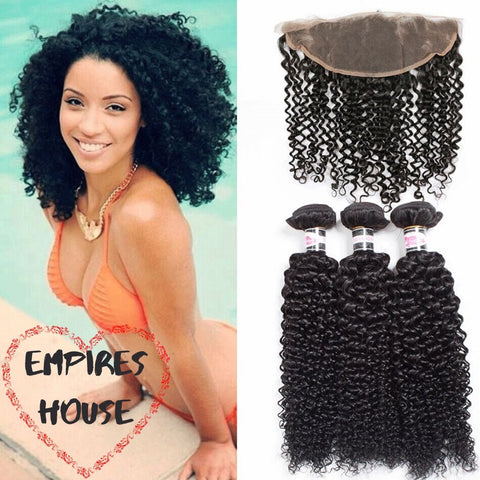 NEW Brazilian Kinky Curly Bundles with Frontal 9A Grade 100% Human Virgin Hair - Empires Wig House