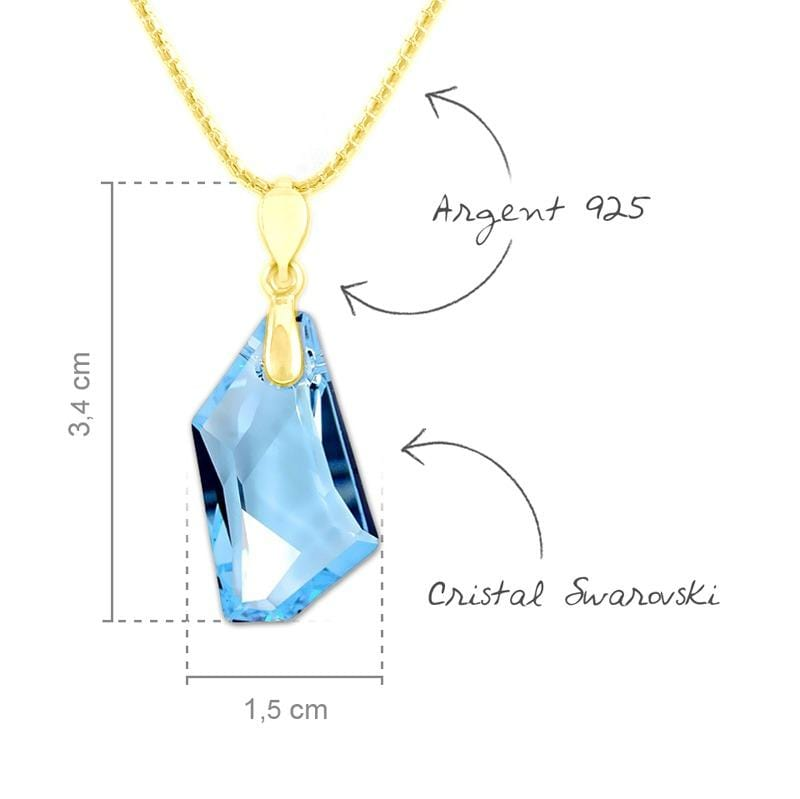 24K Gold Aquamarine Silver  Pendant Necklace Jewellery Set