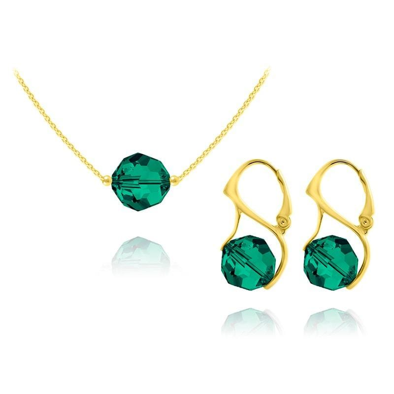 24K Gold And Emerald  Pendant Necklace Jewellery Set