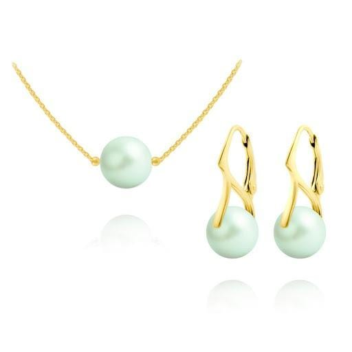 24K Gold  Pastel Green Pearl  Pendant Necklace Jewellery Set