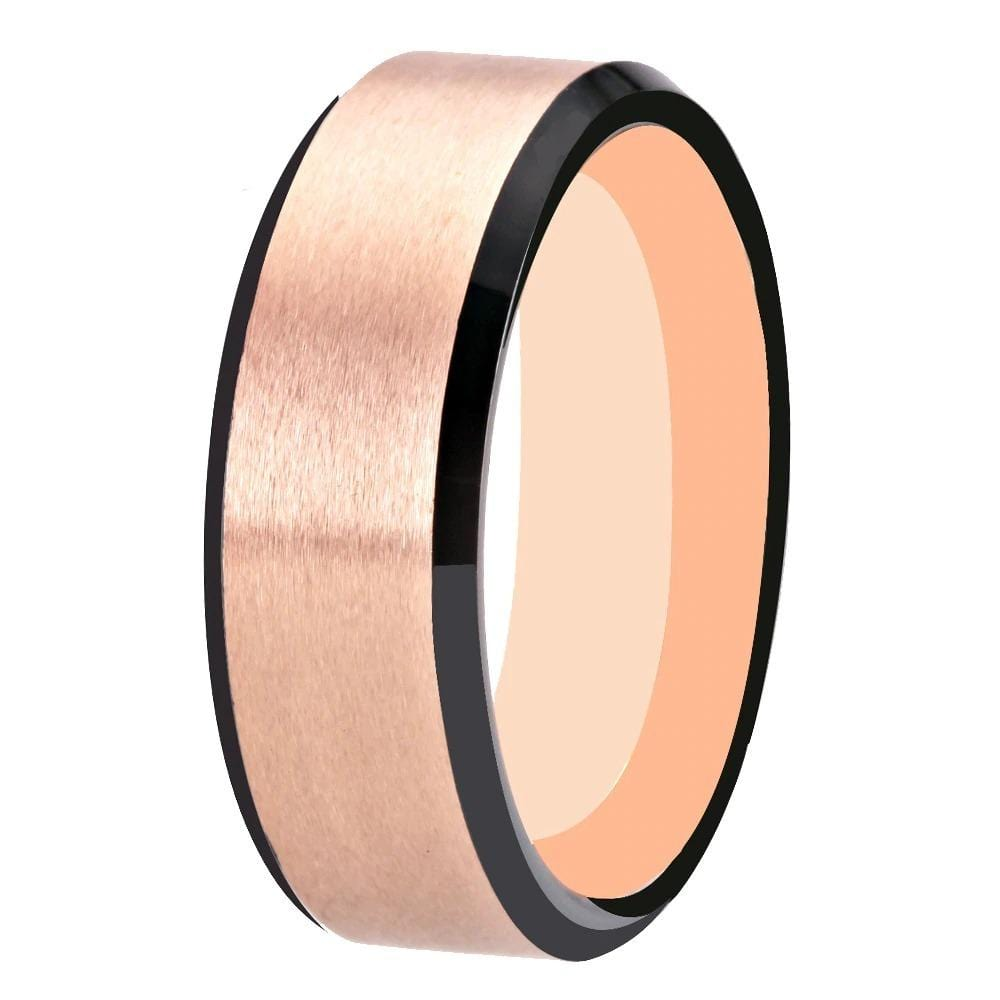 Tungsten Mens Two Tone Rose Gold Black Engagement Ring