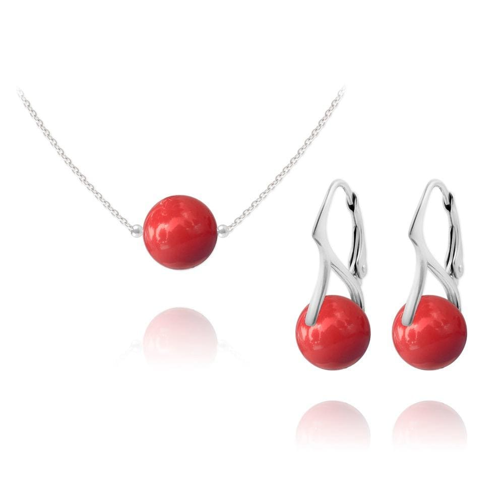 Silver Red Coral  Pearl  Jewellery Set
