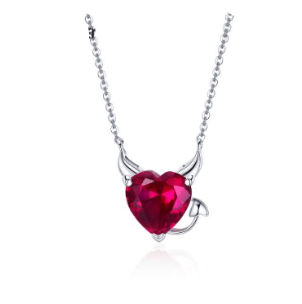 Silver Devil Heart Necklace