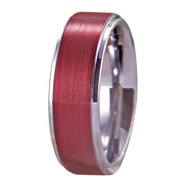 Tungsten Red and Silver Wedding Band