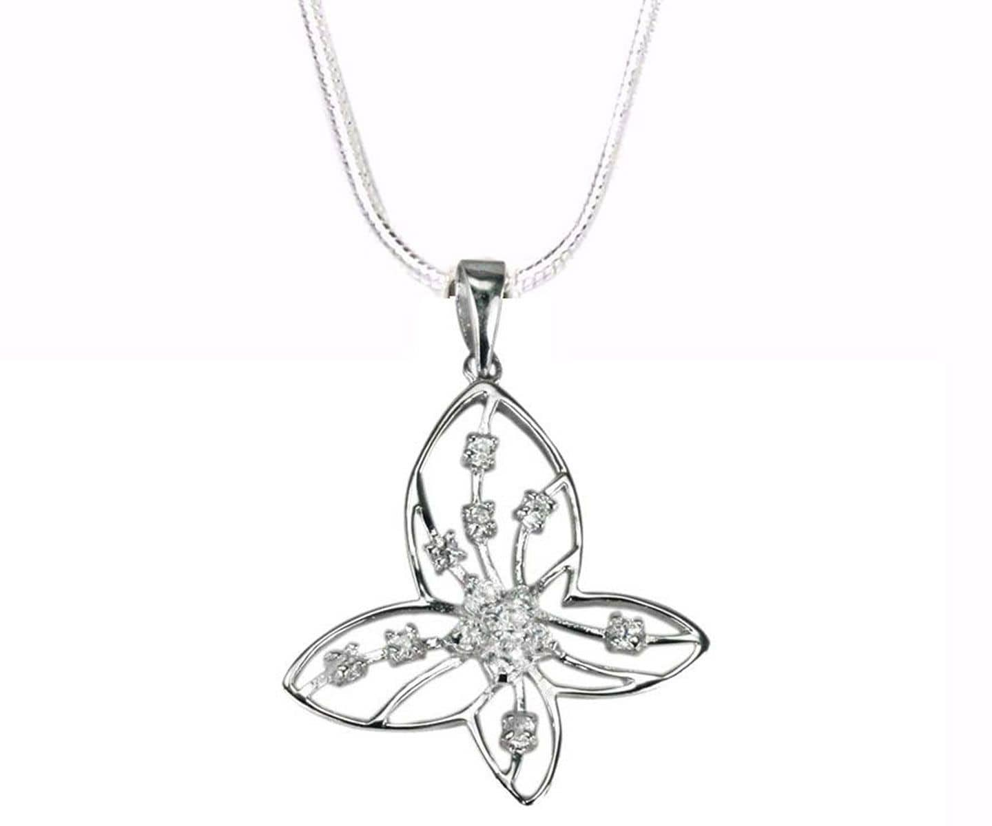 STERLING SILVER BUTTERFLY PENDANT WITH ZIRCONIAS
