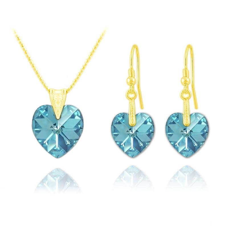 Aquamarine 24K Gold Heart   Pendant Necklace Jewellery Set