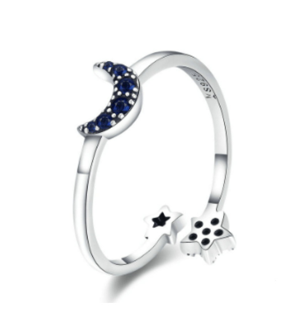 Silver Moon and Star Ring