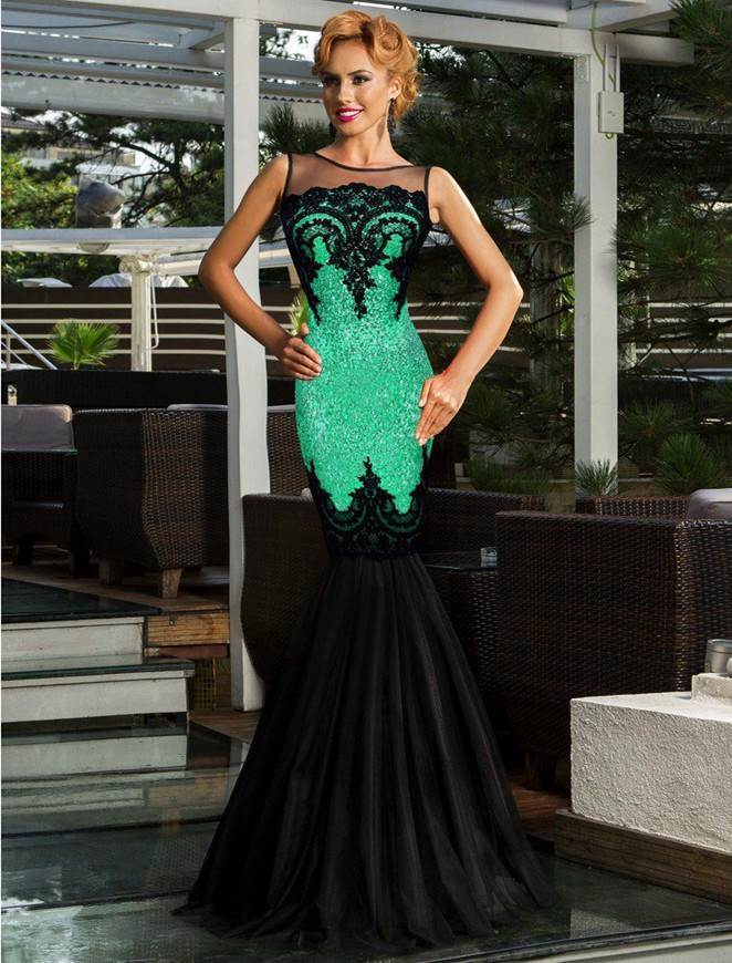 Sequins Appliqués Evening Dress with Mermaid Hem