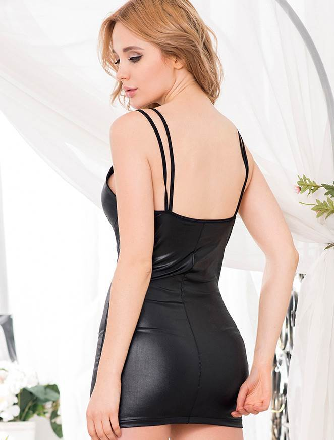 Black Leather Party Dress