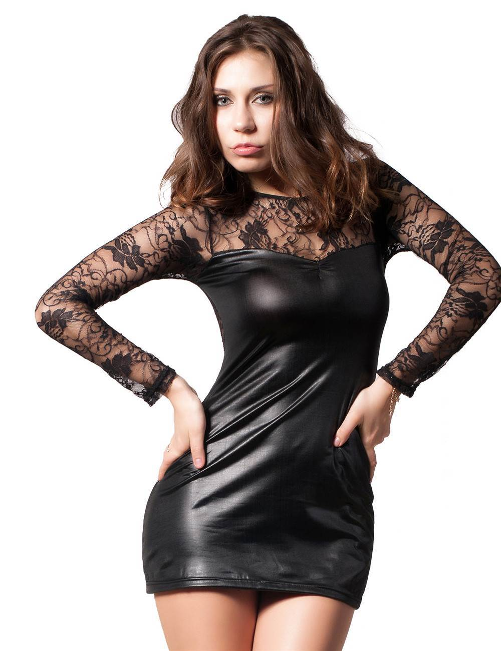 Faux Leather Party Dress