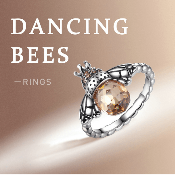 Ornate Silver Bee Ring