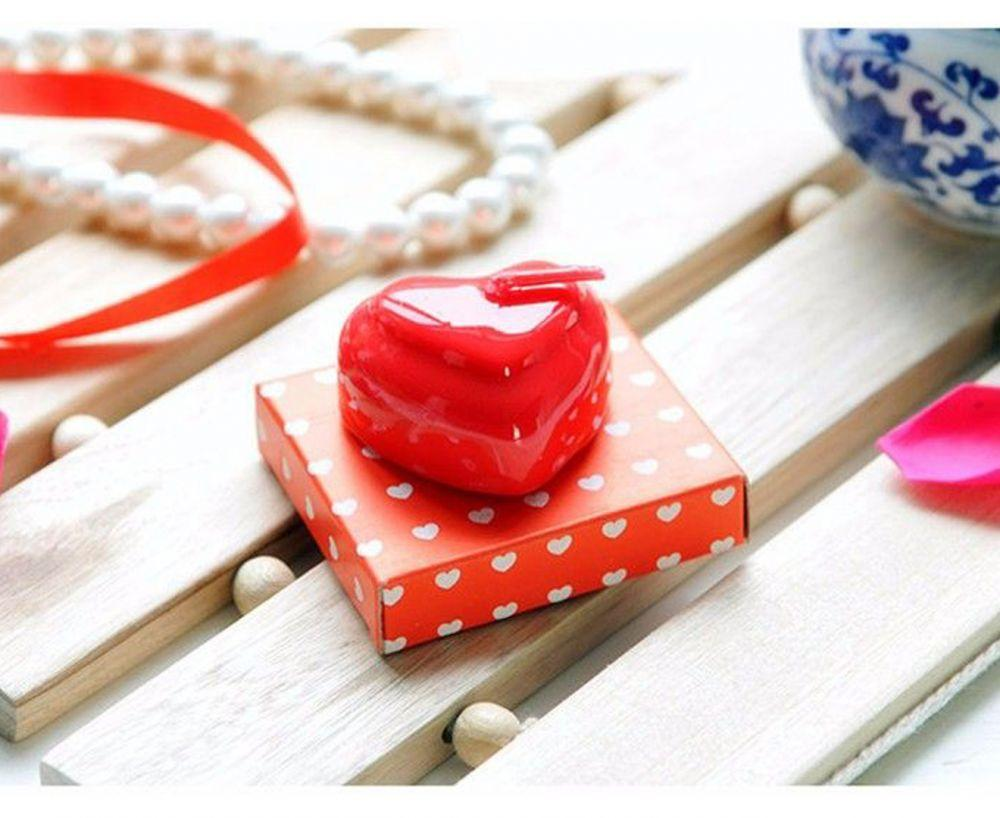 2 X Heart Candle With Gift Box