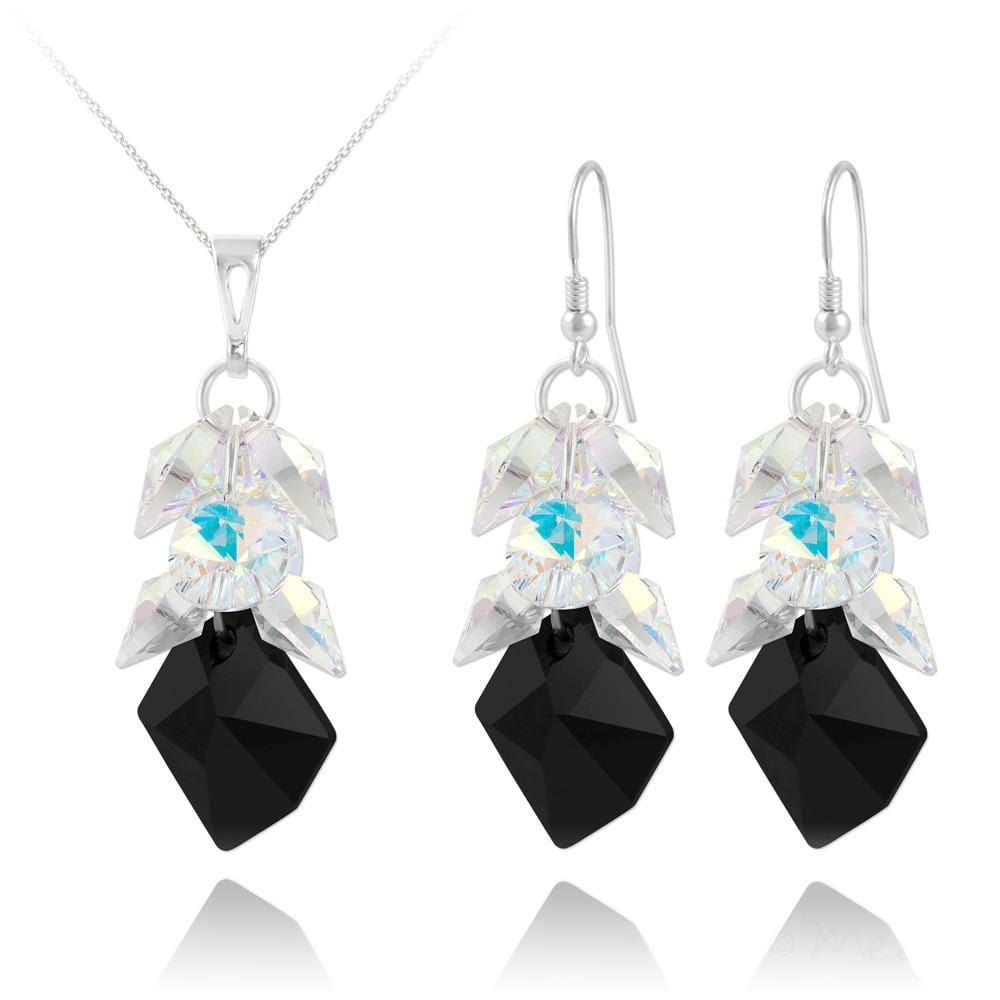 Silver Jewelry Set Made with Swarovski Crystal