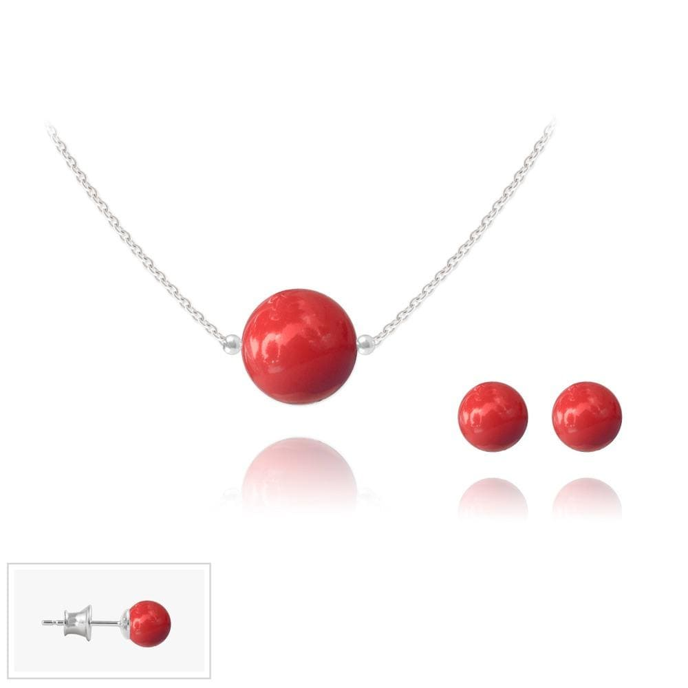 Silver Pearl Jewelry Set - Red Coral