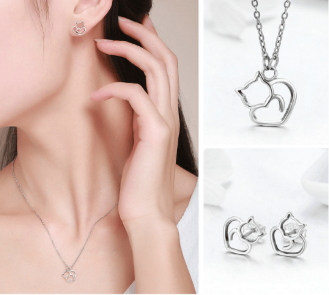 Silver Cat  Pendant Necklace Jewellery Set