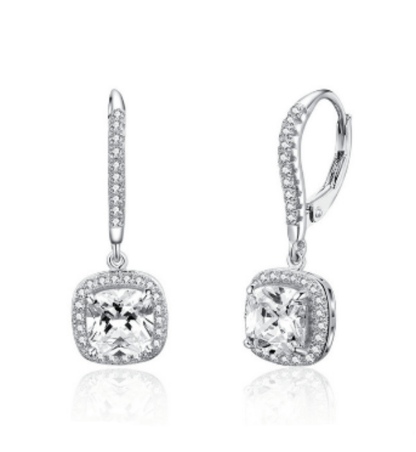 Crystal Drop Earrings Silver