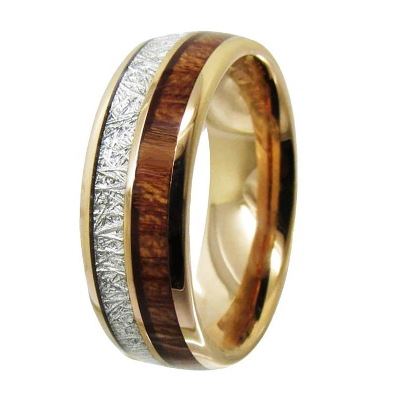 Tungsten Wood Inlay 8mm Wedding & Engagement Ring