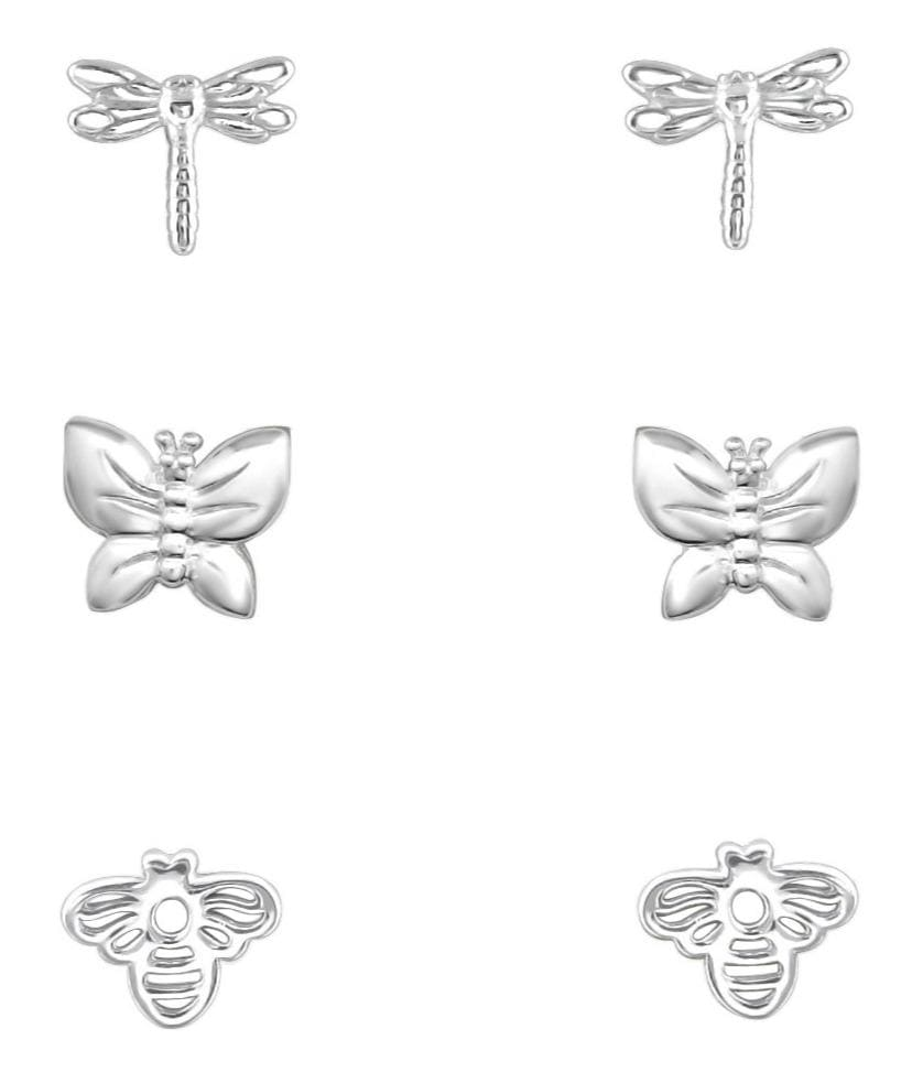 Silver Insect Earrings Set for Kids