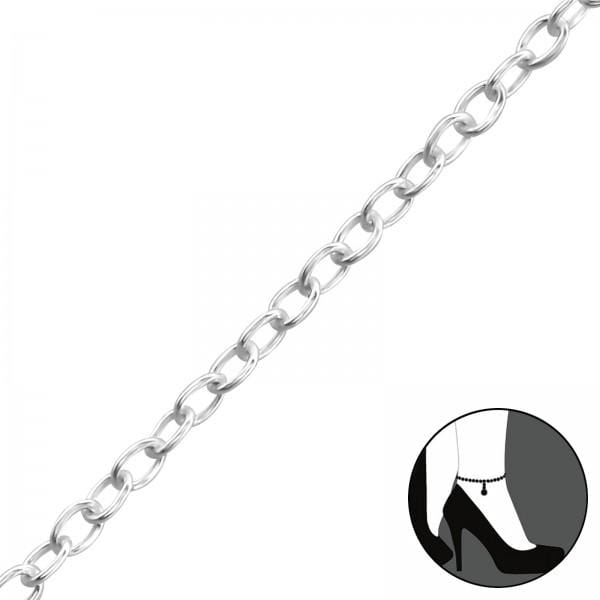 Silver Cable Chain Anklet