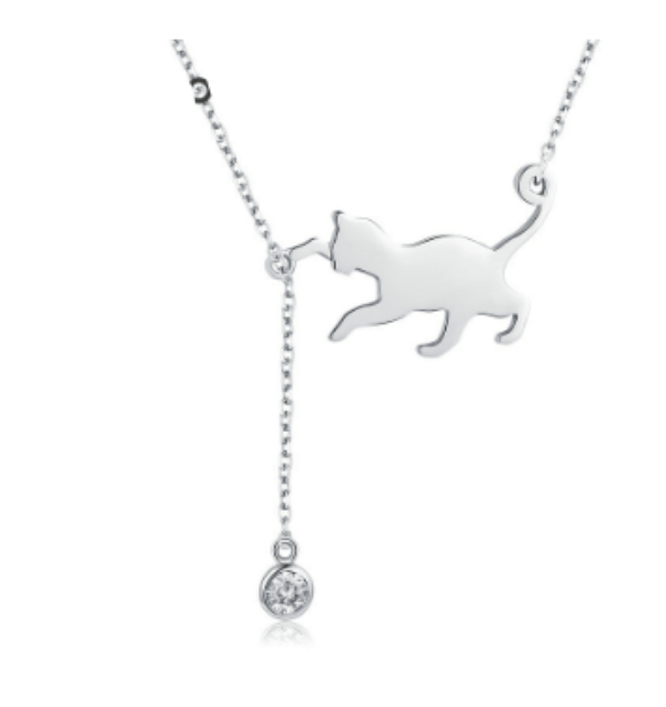 Silver Cat and Ball Necklace