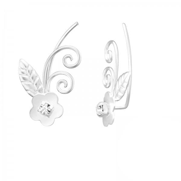 Silver Flower Ear Cuff Wrap