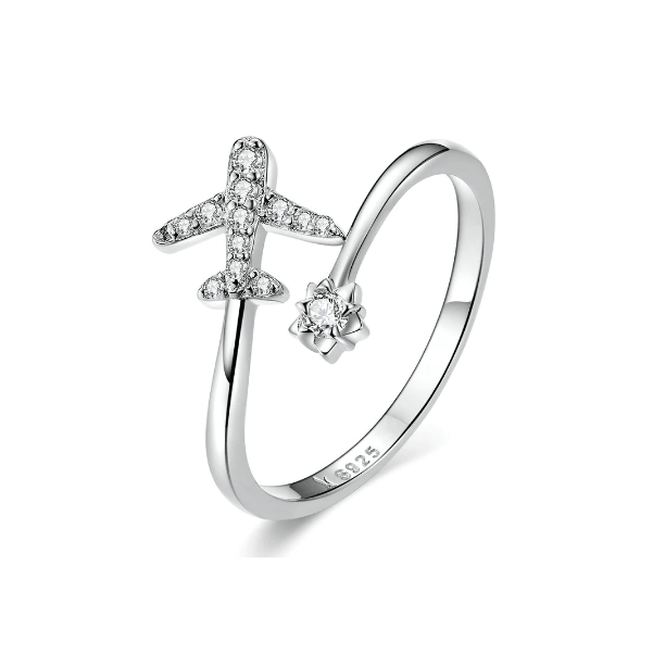 Silver Airplane Adjustable Engagement Ring
