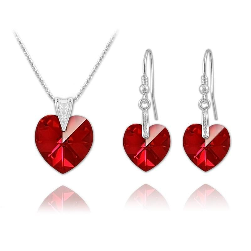 Silver Heart  Pendant Necklace Jewellery Set  Siam