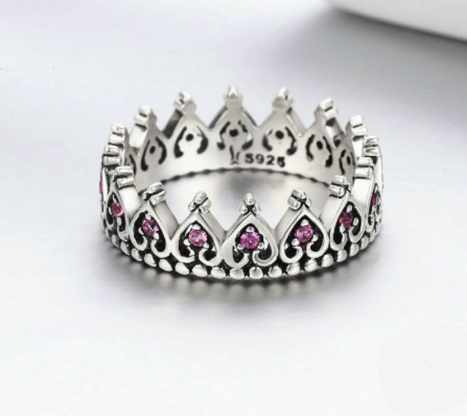 Silver Crown Heart Engagement Ring