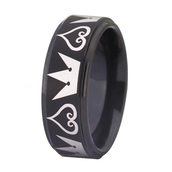 Tungsten Black Hearts and Crowns Wedding Ring