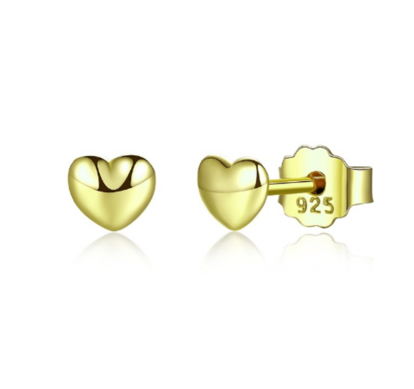 Silver Gold Heart Earrings