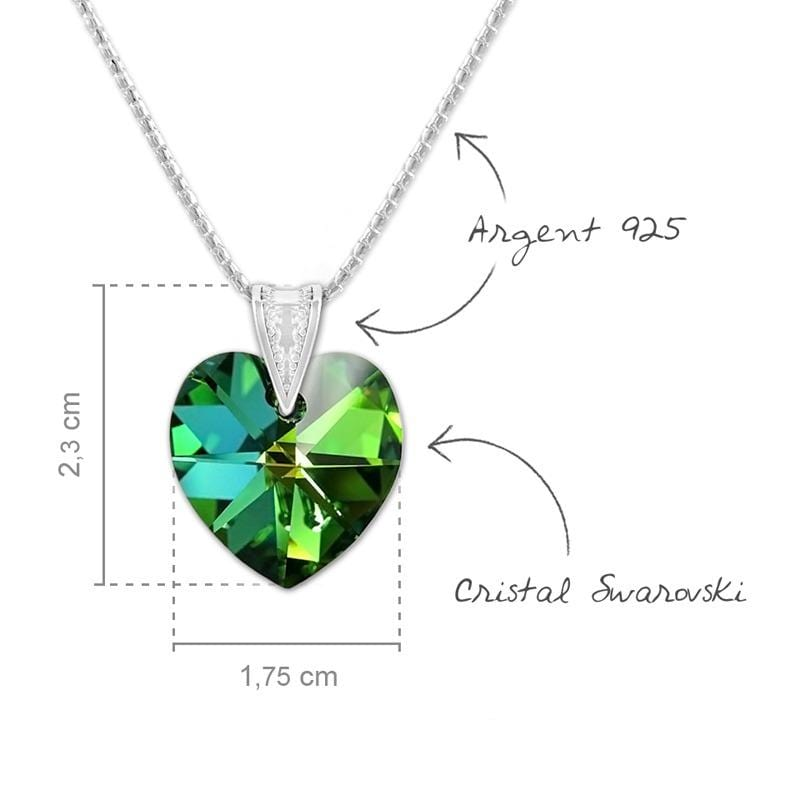 Silver Heart  Pendant Necklace Jewellery Set Vitrail Medium