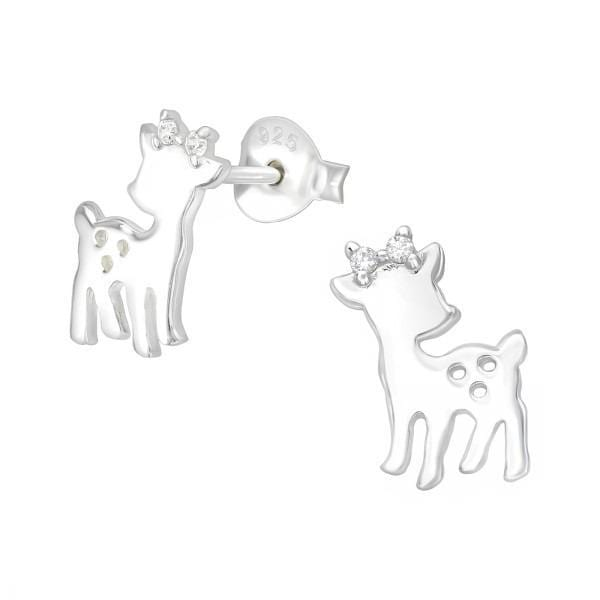 Silver Deer Crystal Earrings