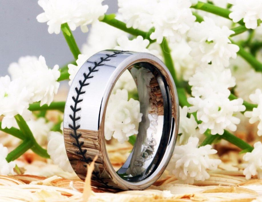 Tungsten Black and Silver Baseball Ring
